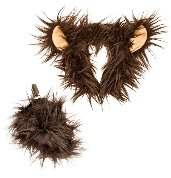 Plush Grizzly Bear Ears Headband and Tail Set for Grizzly Bear Costume or Forest Animal Costumes