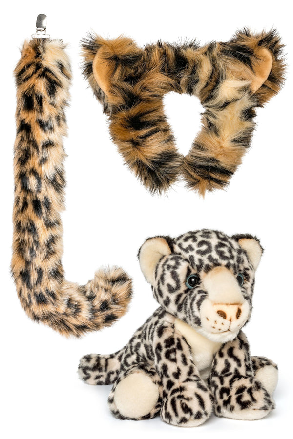 Snow Leopard Ears, Headband & Tail Set with Plush Toy Snow Leopard Bundle for Pretend Play Dress Up