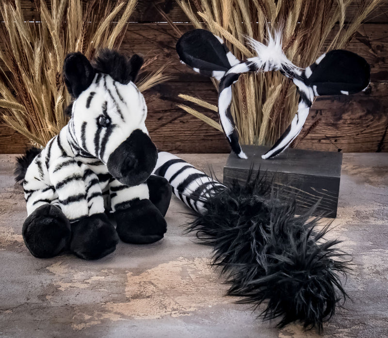Zebra Ears Headband and Tail Set with Baby Plush Toy Zebra Bundle for Pretend Play Animals Dress Up