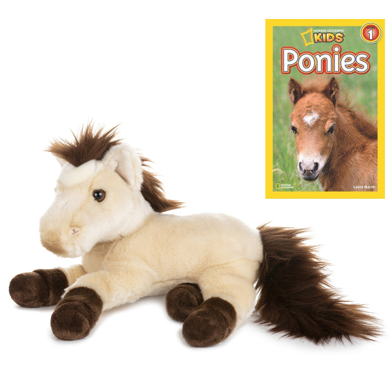 11 Inch Plush Brown Horse Stuffed Animal Bundle with National Geographic Readers Ponies (L1)