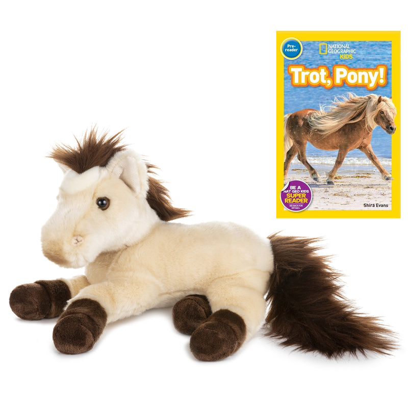 11 Inch Plush Brown Horse Stuffed Animal Bundle with National Geographic Readers Trot, Pony! (Pre-reader)