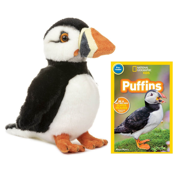 12 Inch Plush Puffin Stuffed Animal Bundle with National Geographic Readers Puffins (Pre-Reader)
