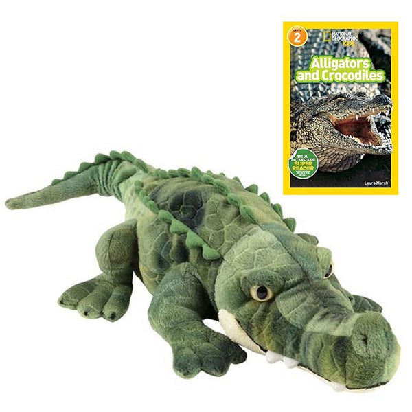 17 Inch Plush Crocodile Stuffed Animal Set with National Geographic Readers Alligators & Crocodiles