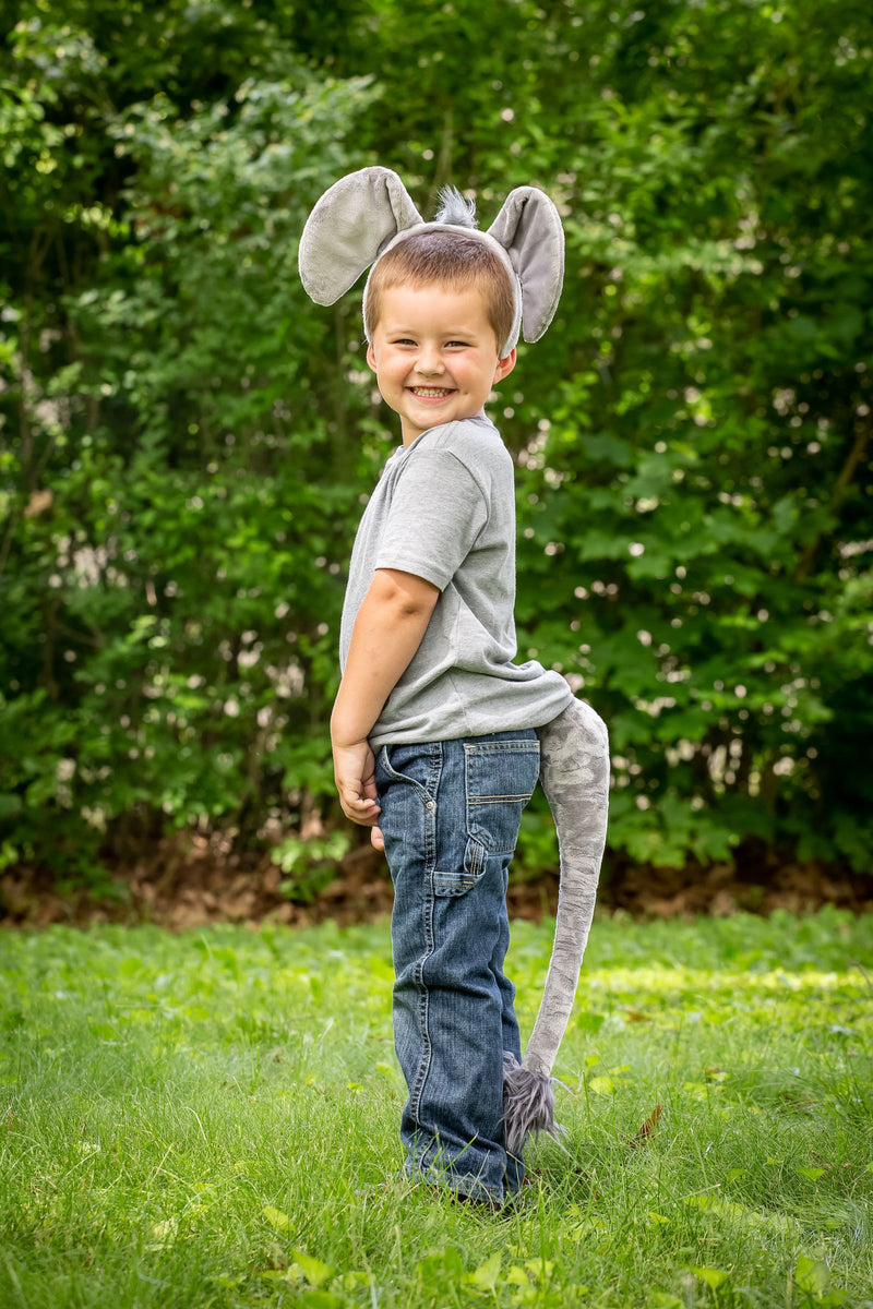 Elephant Ears Headband and Tail Set for Elephant Costume, Pretend Play or Safari Party Costumes