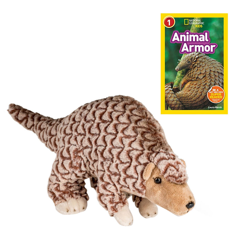 17 Inch Plush Pangolin Stuffed Animal Set with National Geographic Readers Animal Armor (L1)