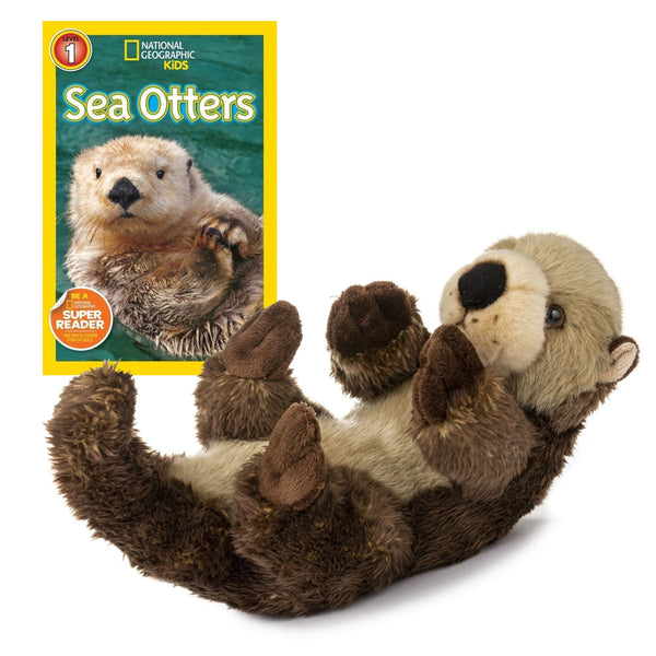 12 Inch Plush Sea Otter Stuffed Animal Set with National Geographic Readers Sea Otters (L1)