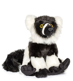 Wildlife Tree 12 Inch Stuffed Black-and-white Ruffed Lemur Plush Floppy Animal Kingdom Collection