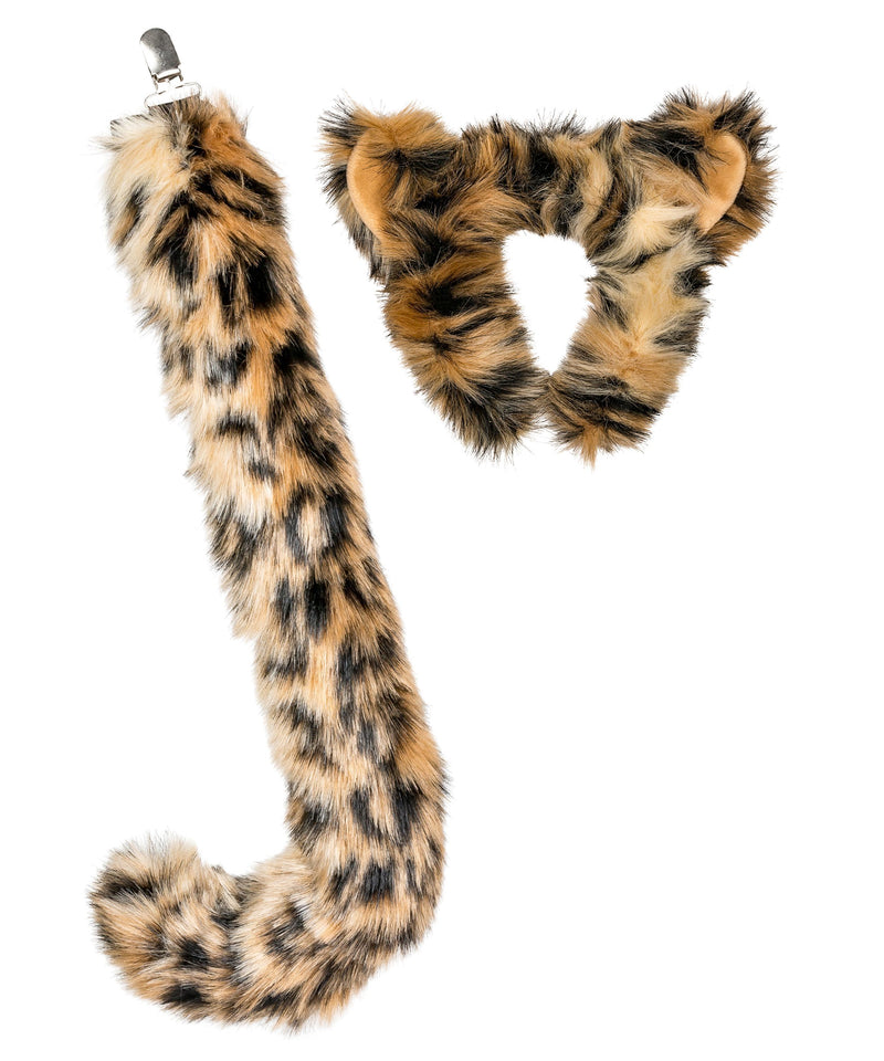 Snow Leopard Ears Headband and Tail Set for Snow Leopard Costume, Cosplay or Safari Party Costumes