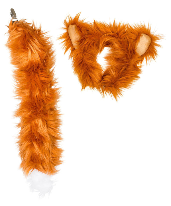 Red Fox Ears Headband and Tail Set Bundle for Pretend Play Animals Dress Up