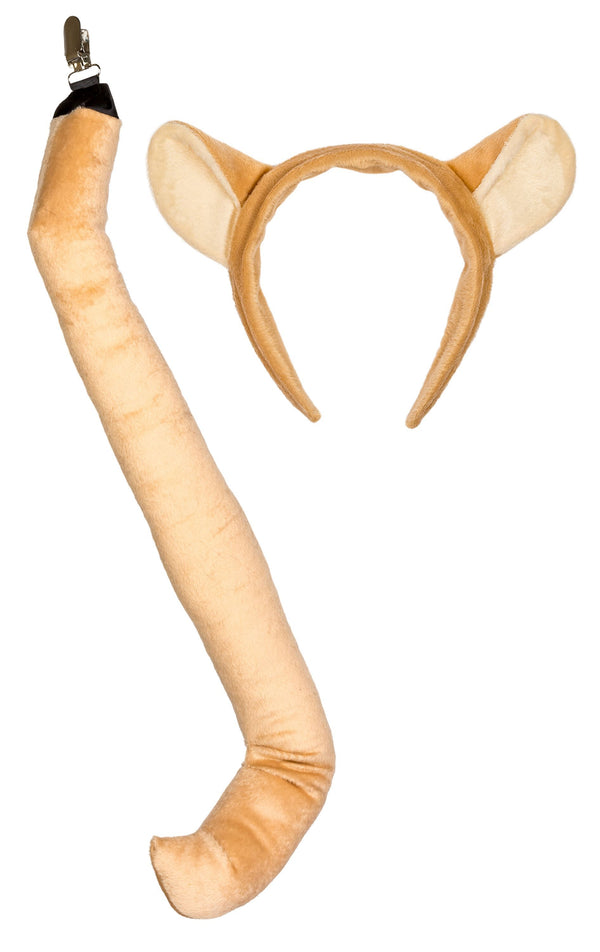 Plush Mountain Lion / Cougar Ears Headband and Tail Set for Cougar Costume or Safari Party Costumes