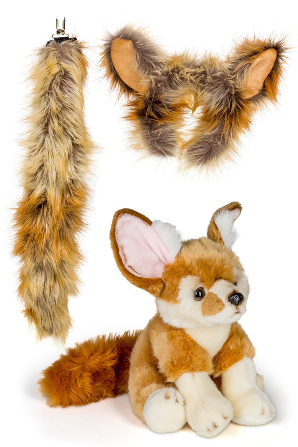 Fennec Fox Ears Headband and Tail Set with Plush Toy Fennec Fox Bundle for Pretend Play Dress Up