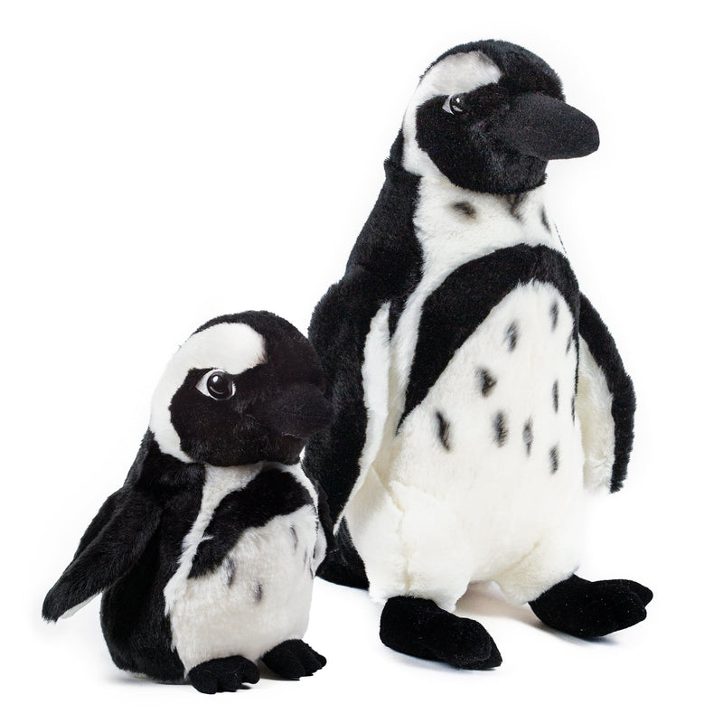 12 and 7 Inch Stuffed Black-footed Penguin Mom and Baby Plush Zoo Animal Kingdom Family Collection