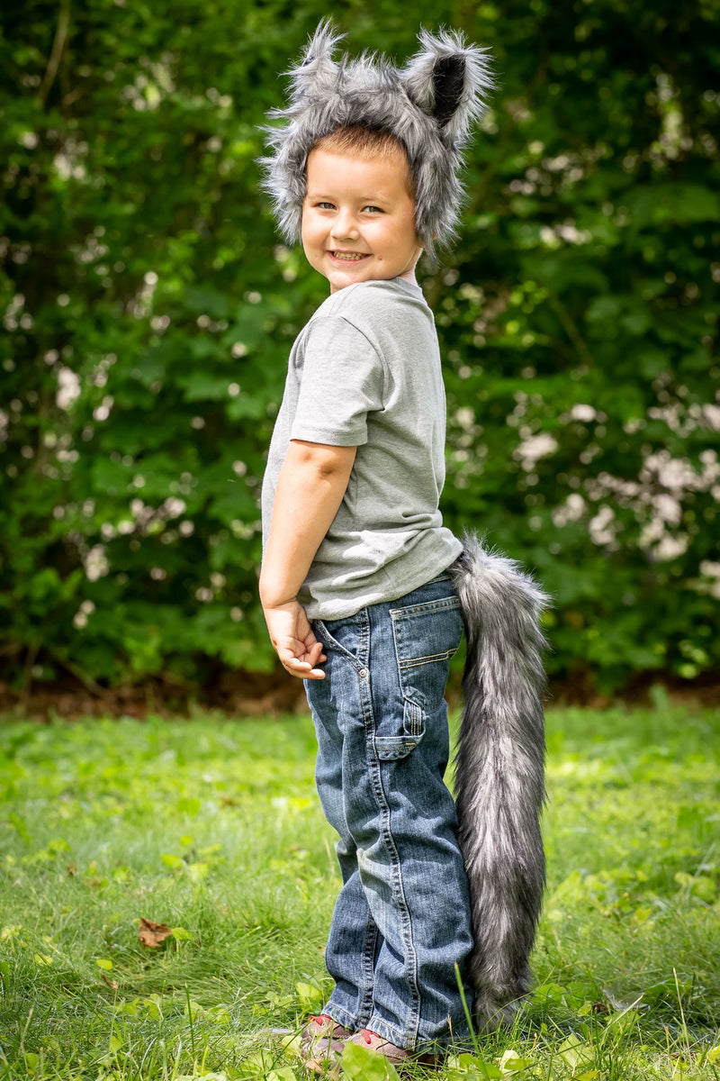 Plush Wolf Ears Headband and Tail Set Wolf Costume, Pretend Animal Play or Forest Animal Costumes