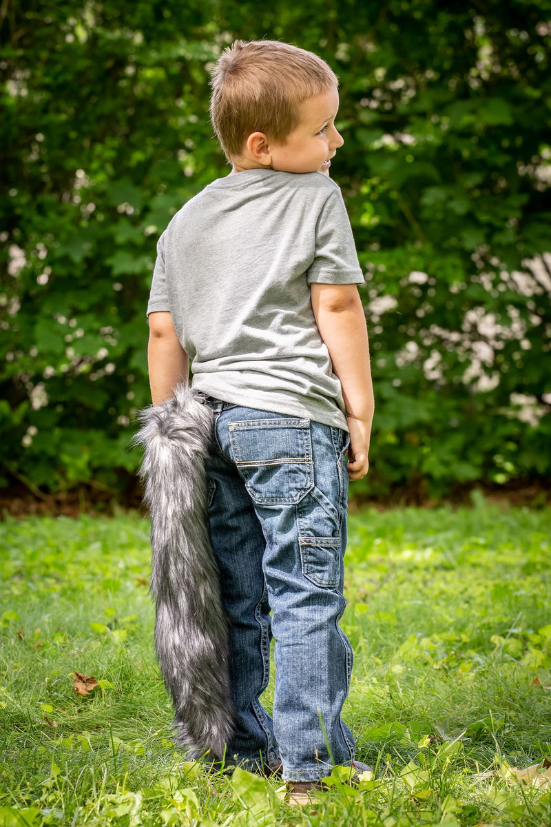 Plush Wolf Tail Clip-On Accessory for Wolf Costume, Pretend Animal Play or Forest Animal Costumes
