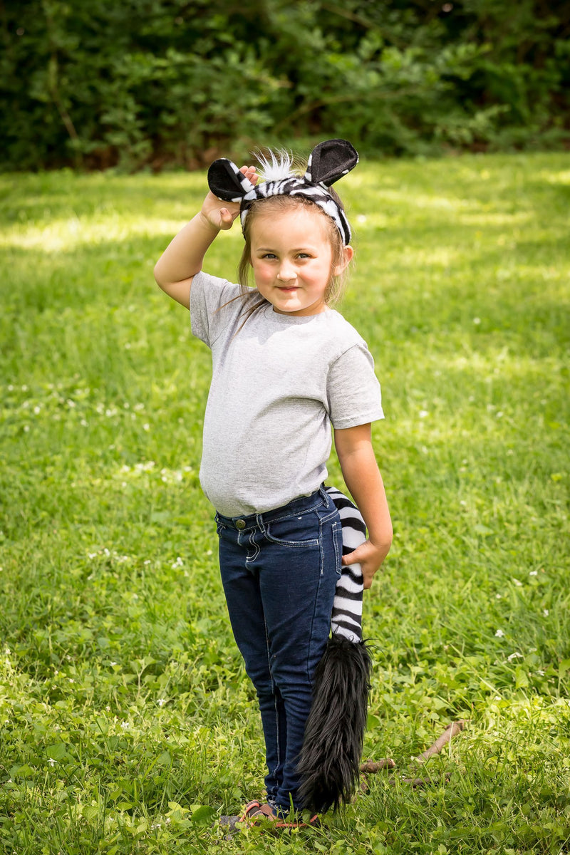 Zebra Ears Headband and Tail Set for Zebra Costume, Pretend Animal Play or Safari Party Costumes