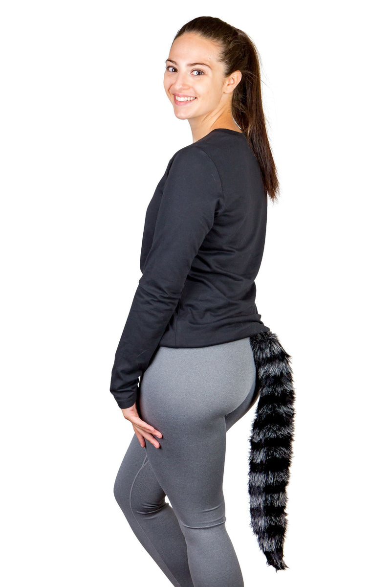 Raccoon Tail Clip-On for Raccoon Costume Cosplay Forest Pretend Play