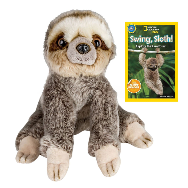9 Inch Plush Sloth Stuffed Animal Set with National Geographic Readers Swing, Sloth! (Pre-Reader)