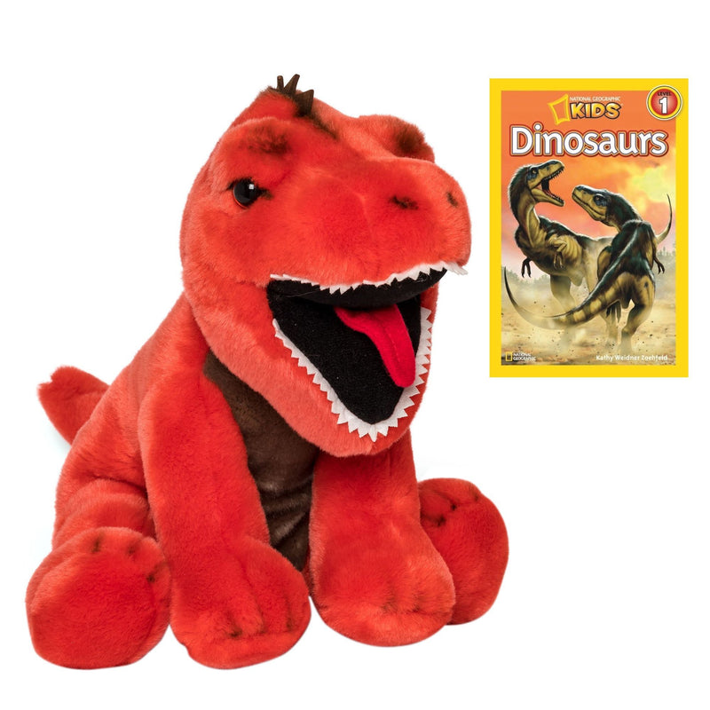 11 Inch Plush T-Rex Stuffed Animal Set with National Geographic Readers Dinosaurs (L1)