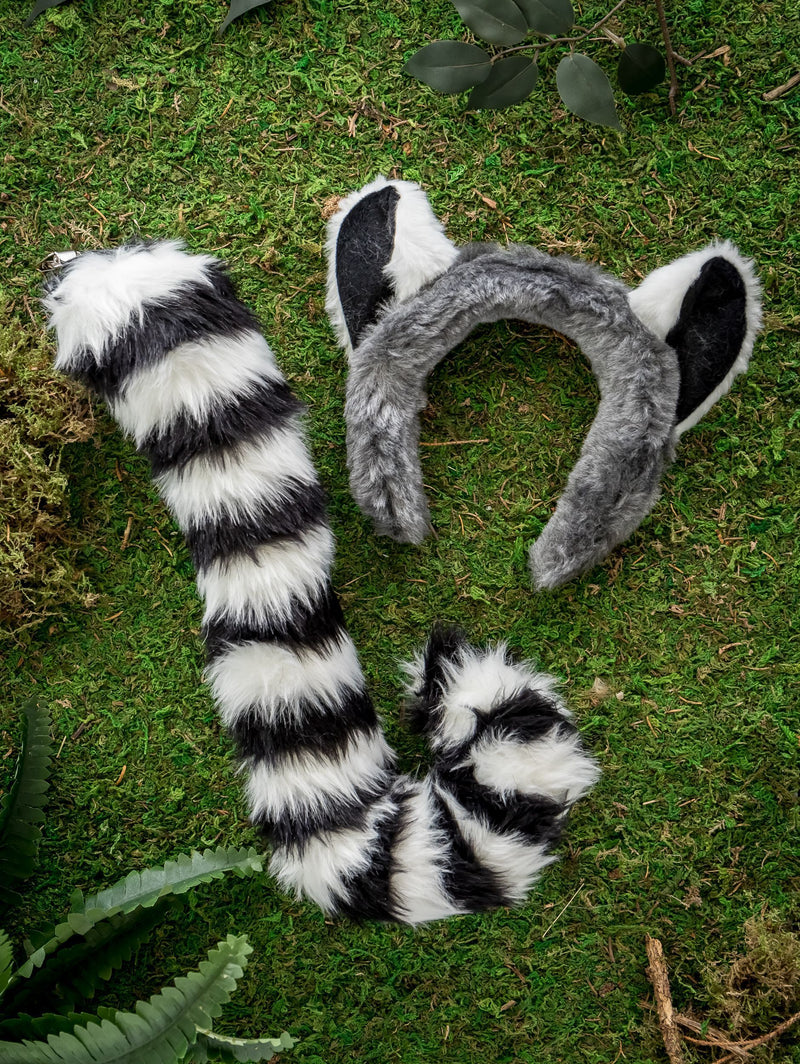 Ring-Tailed Lemur Ears, Headband & Tail Set for Lemur Costume, Pretend Play or Safari Party Costume