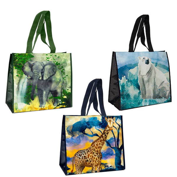 3 Pack Reusable Animal Print Waterpaint Grocery Tote Bags, Wide Tote Varitey Pack