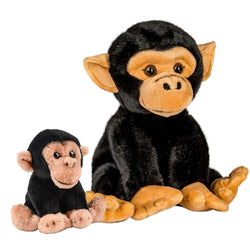 10 and 5 Inch Stuffed Chimp Mom and Baby Plush Floppy Zoo Animal Kingdom Family Collection