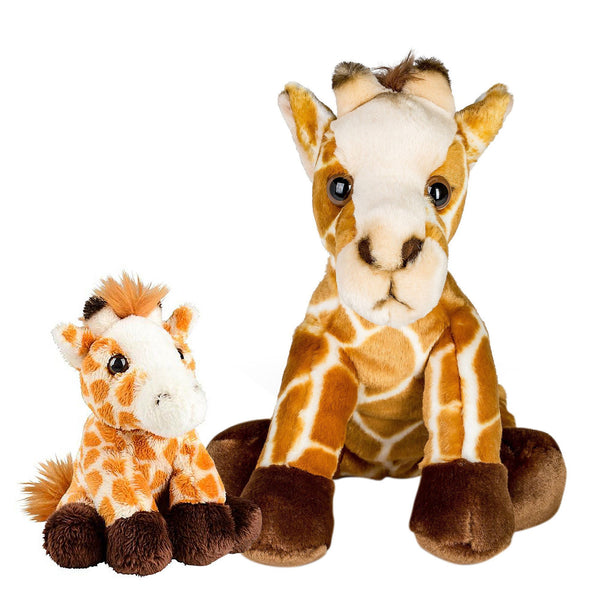 10 and 5 Inch Stuffed Giraffe Mom and Baby Plush Floppy Zoo Animal Kingdom Family Collection
