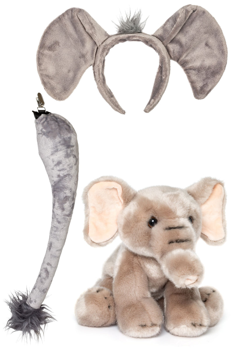 Elephant Ears Headband and Tail Set with Baby Plush Toy Elephant Bundle for Pretend Play DressUup