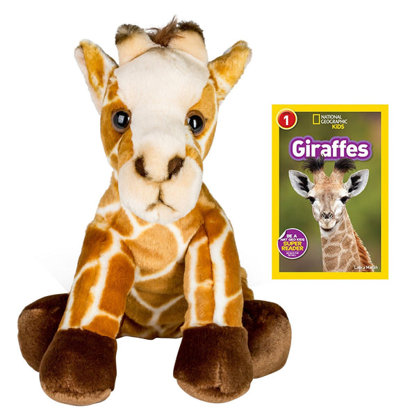 10 Inch Plush Giraffe Stuffed Animal Set with National Geographic Readers Giraffes (L1)