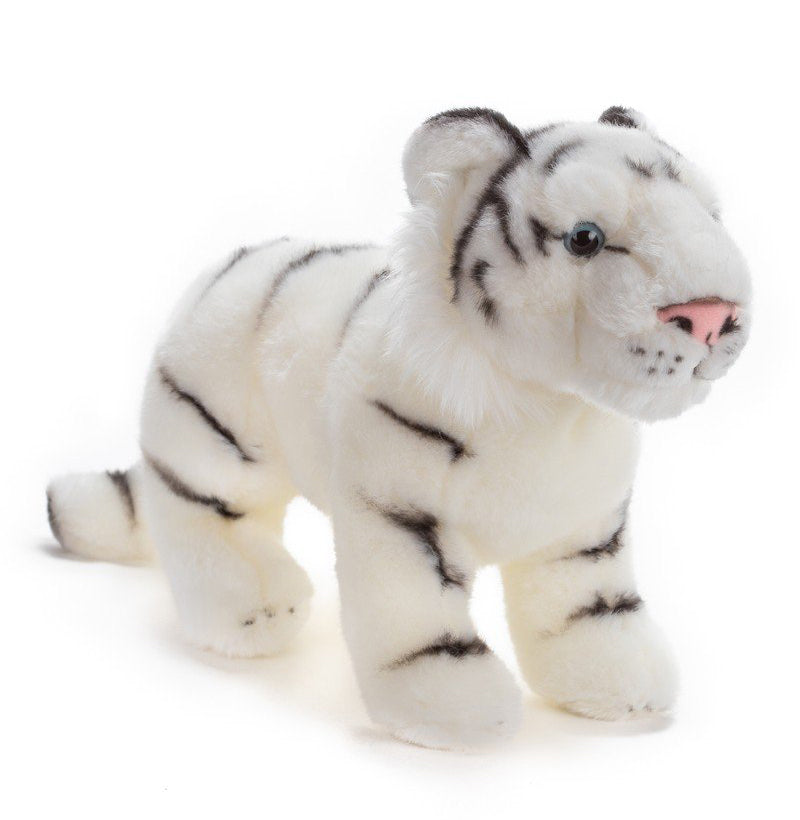 Standing 12 Inch Stuffed White Tiger Plush Animal Kingdom Collection