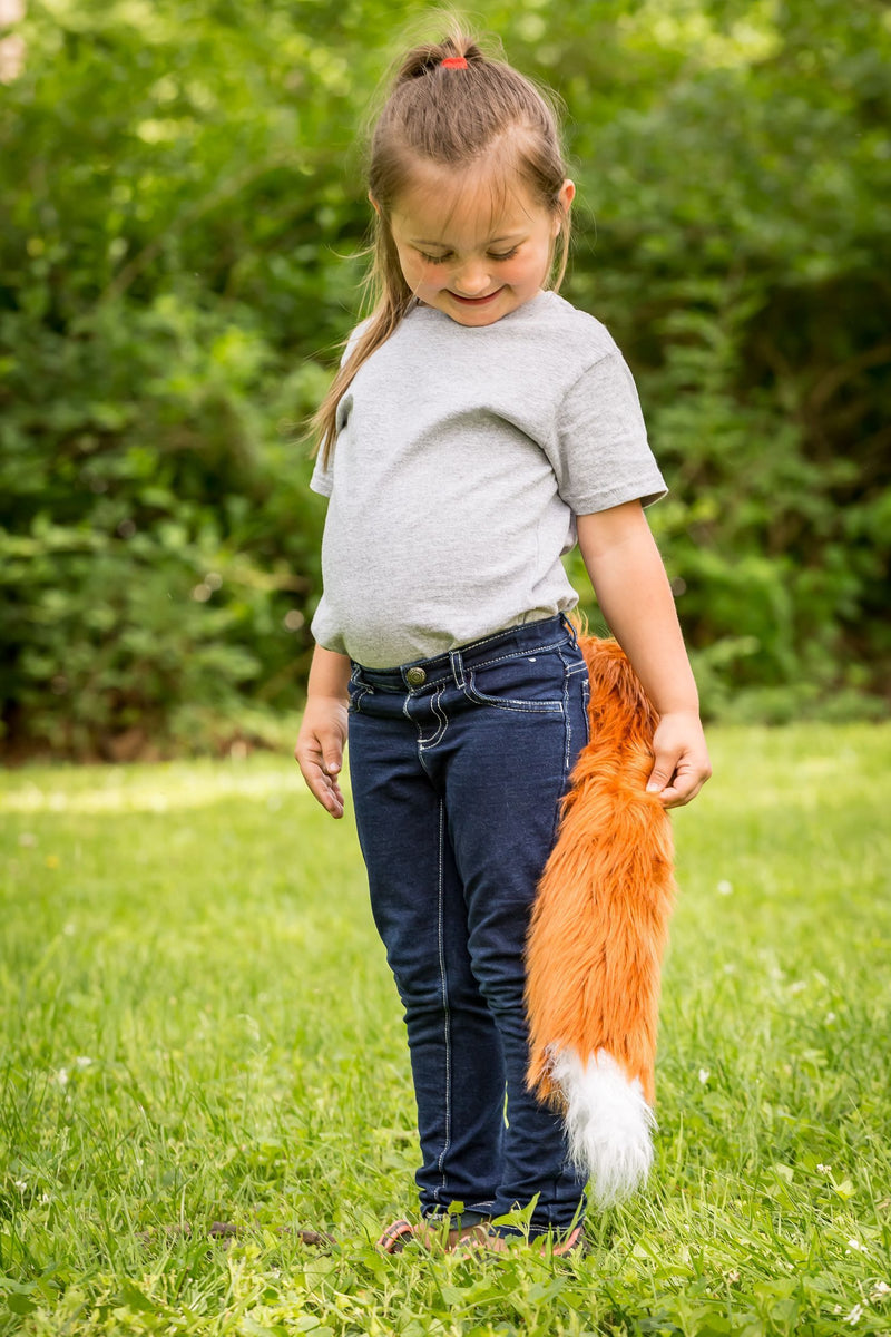 Red Fox Tail Clip-On for Red Fox Costume Cosplay Forest Pretend Play