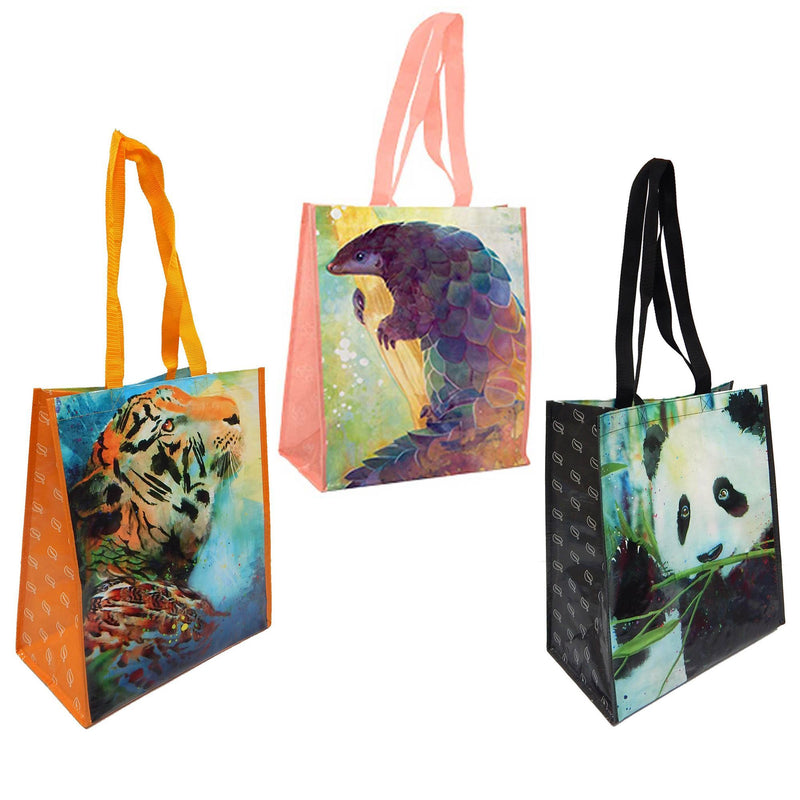 3 Pack Reusable Animal Print Waterpaint Grocery Tote Bags, Asian Forest Theme