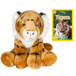 9 Inch Plush Tiger Stuffed Animal Set with National Geographic Readers Tigers (L2)