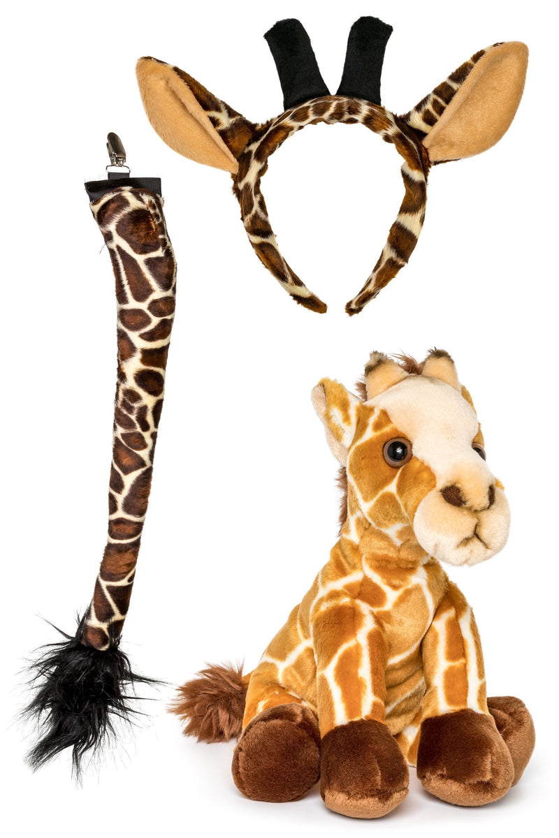 Plush Giraffe Ears Headband and Tail Set with Plush Toy Giraffe Bundle for Pretend Play Dress Up