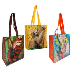 3 Pack Reusable Animal Print Waterpaint Grocery Tote Bags, Jungle Theme