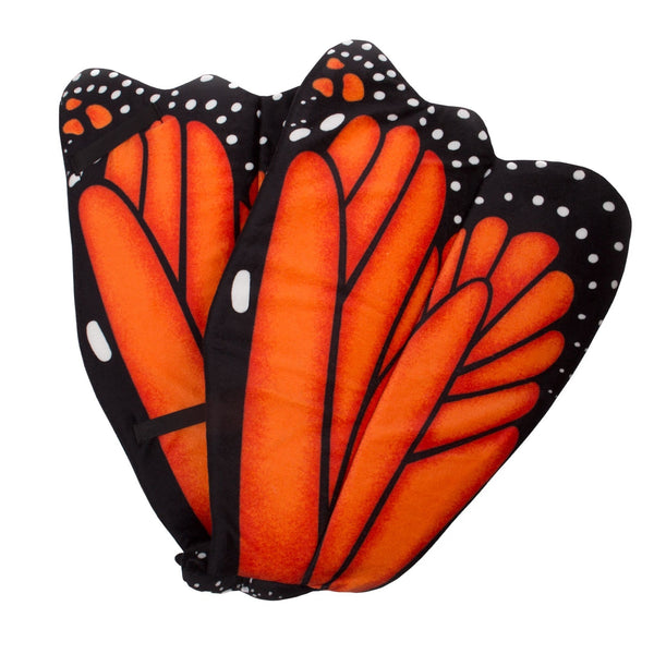 Plush Orange Monarch Butterfly Wings for Orange Butterfly Costume, Kids Cosplay and Pretend Play