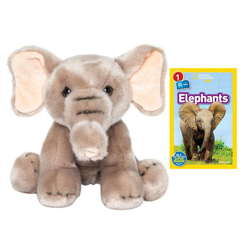 9 Inch Plush Elephant Stuffed Animal Set with National Geographic Readers Elephants (L1 Co-Reader)