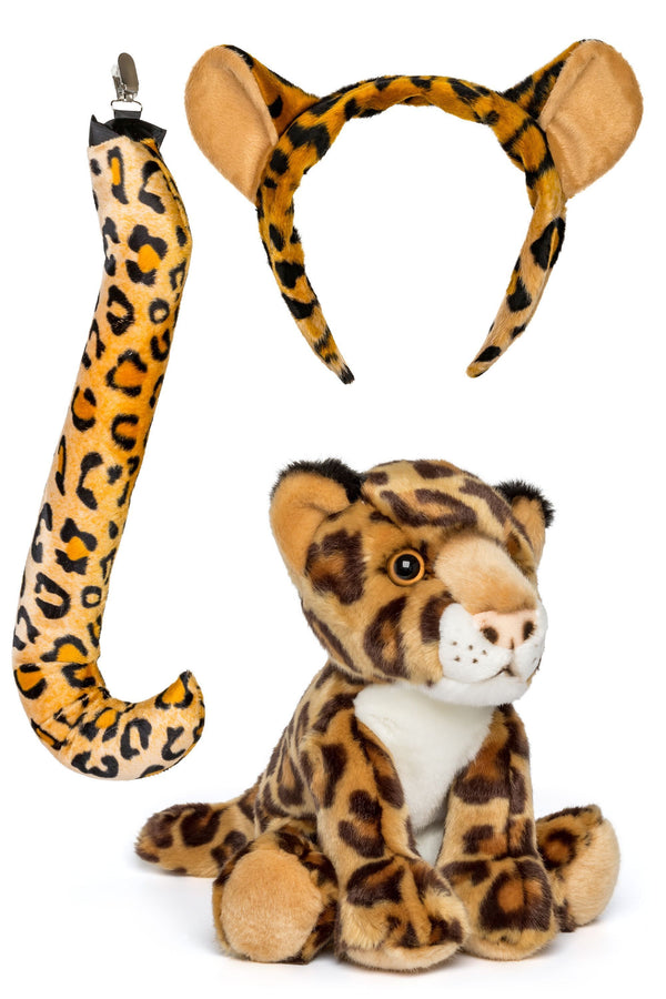 Leopard Ears Headband and Tail Set with Plush Toy Leopard Bundle for Pretend Play Animals Dress Up
