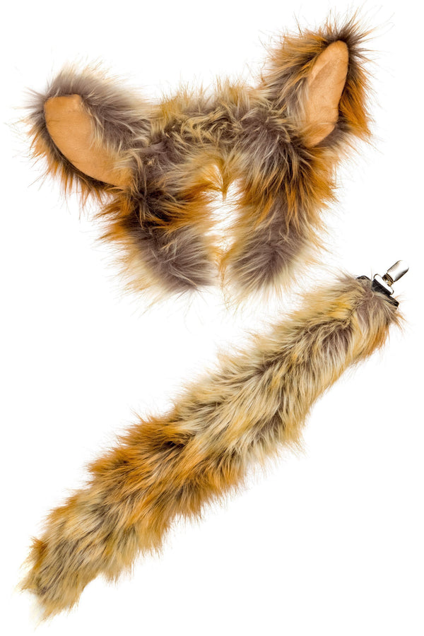 Fennec Fox Ears Headband and Tail Set for Fennec Fox Costume, Pretend Play or Safari Party Costumes