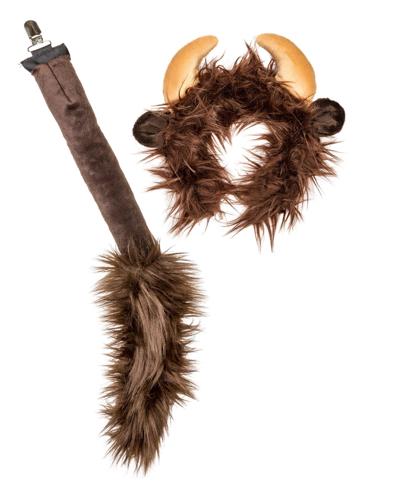 Plush Buffalo Ears Headband and Tail Set for Buffalo Costume, Cosplay or Forest Animal Costumes
