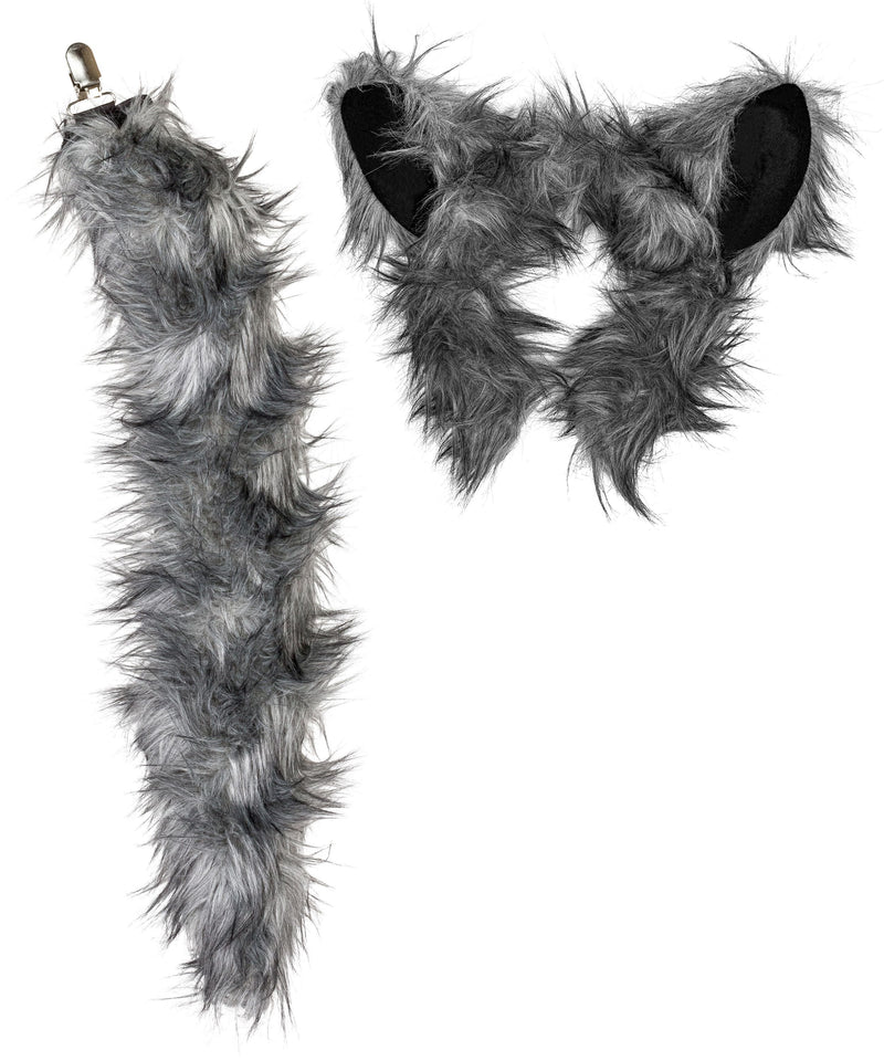 Wolf Ears Headband and Tail Set Bundle for Pretend Play Animals Dress Up