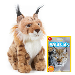 9 Inch Plush Lynx Stuffed Animal Bundle with National Geographic Readers Wild Cats (L1)