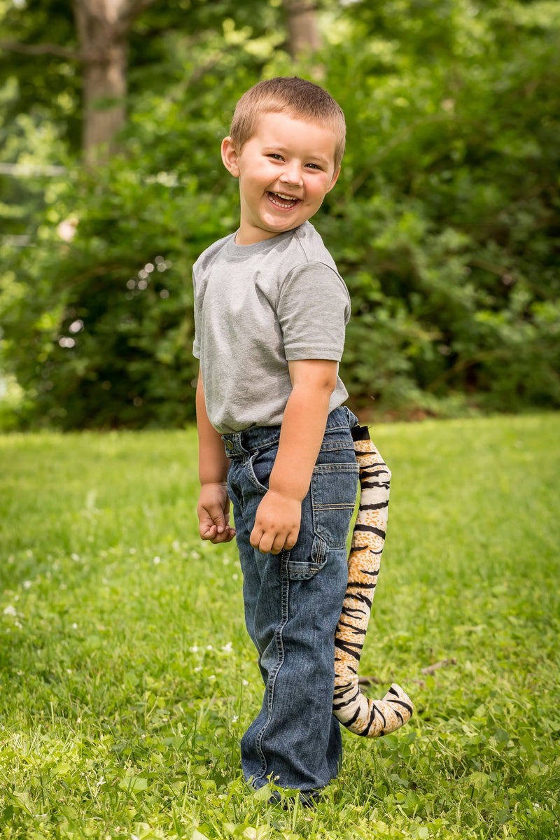 Plush Tiger Tail Clip-On Accessory for Tiger Costume, Pretend Animal Play or Safari Party Costumes
