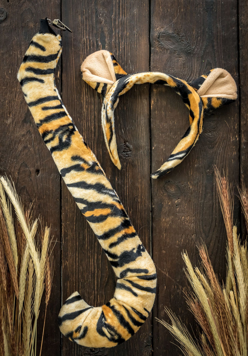 Tiger Ears Headband and Tail Set for Tiger Costume, Pretend Animal Play or Safari Party Costumes