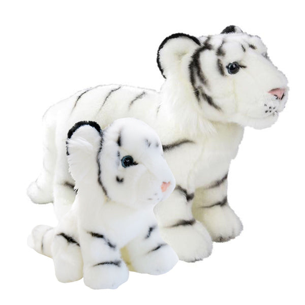 12 and 7 Inch Stuffed White Tiger Mom and Baby Plush Floppy Zoo Animal Kingdom Family Collection
