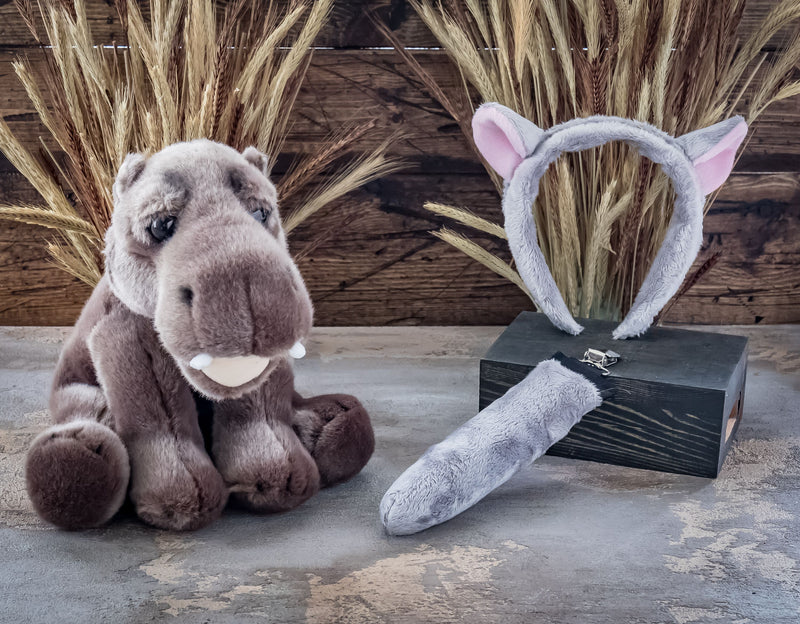 Hippo Ears Headband with Baby Plush Toy Hippopotamus Set Bundle for Pretend Play Animals Dressup