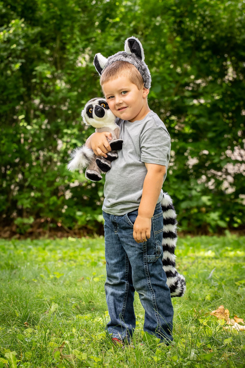 Ring-Tailed Lemur Ears, Headband & Tail Set with Plush Toy Lemur Bundle for Pretend Play Dress Up