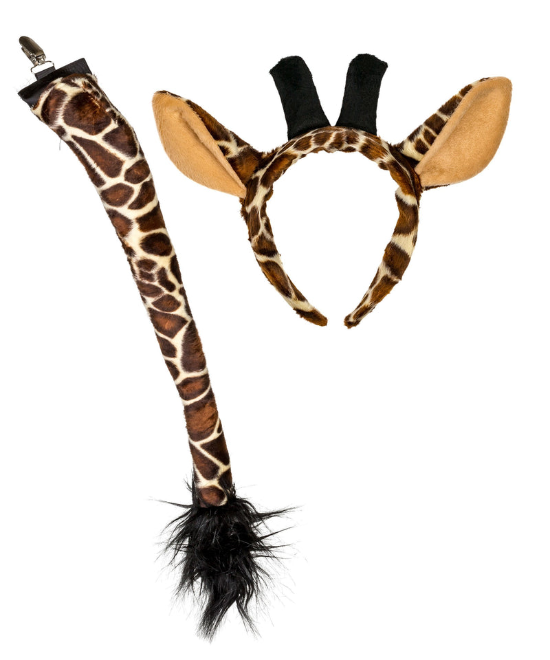 Plush Giraffe Ears Headband and Tail Set Bundle for Pretend Play Dress Up