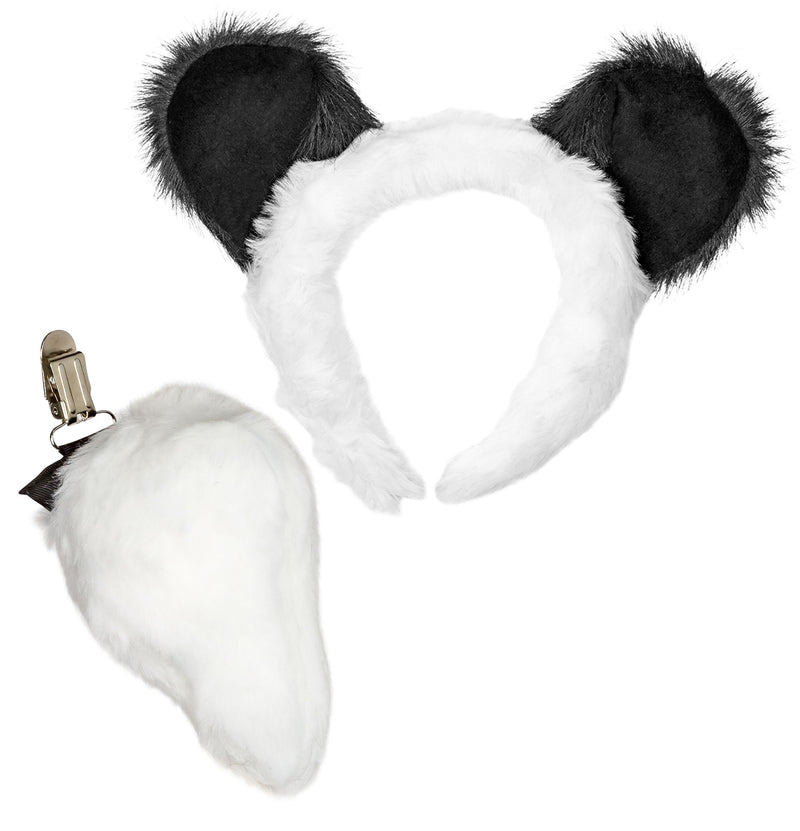 Panda Ears Headband and Tail Set for Panda Costume, Pretend Animal Play or Safari Party Costumes