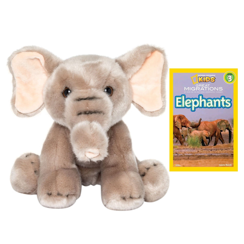 9 Inch Plush Elephant Stuffed Animal Set with National Geographic Readers Great Migrations Elephants (L3)