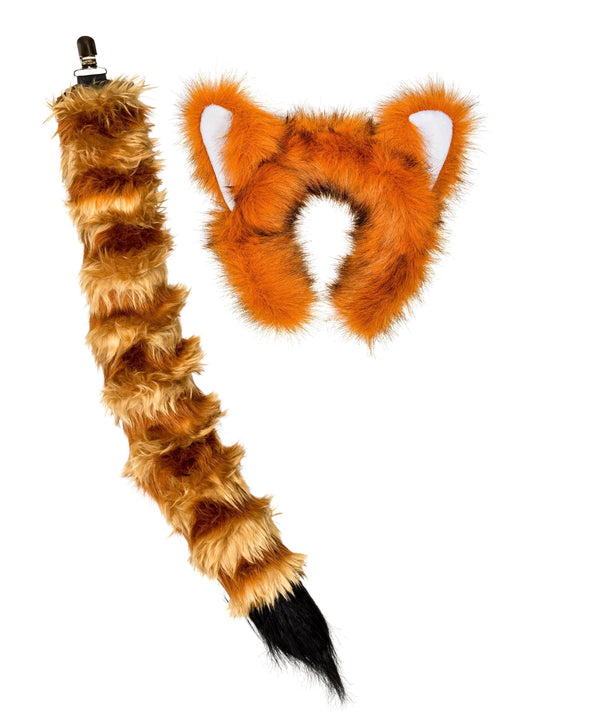Red Panda Ears, Headband & Tail Set Bundle for Pretend Play Dress Up